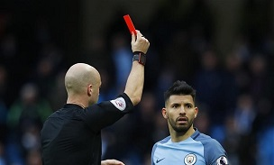 Sergio Aguero Red Card