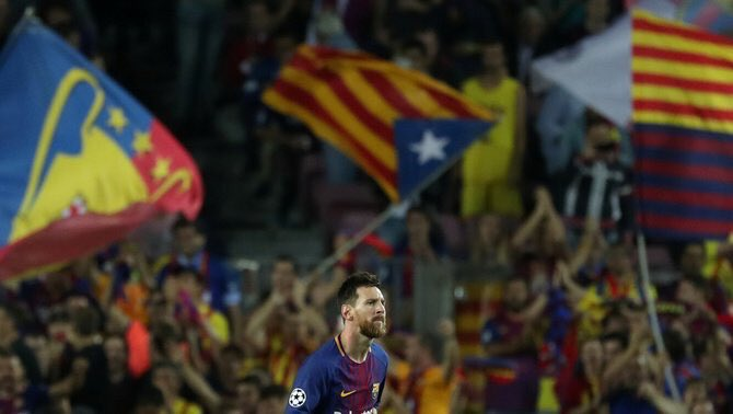 Lionel Messi FC Barcelona Champions League Olympiacos