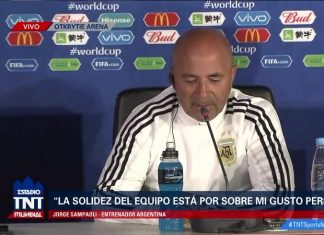 Argentina coach Jorge Sampaoli at a press conference during the 2018 FIFA World Cup.