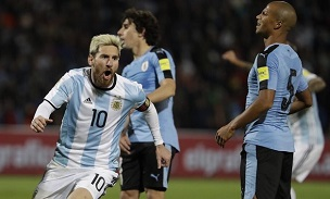 Messi scores against Uruguay