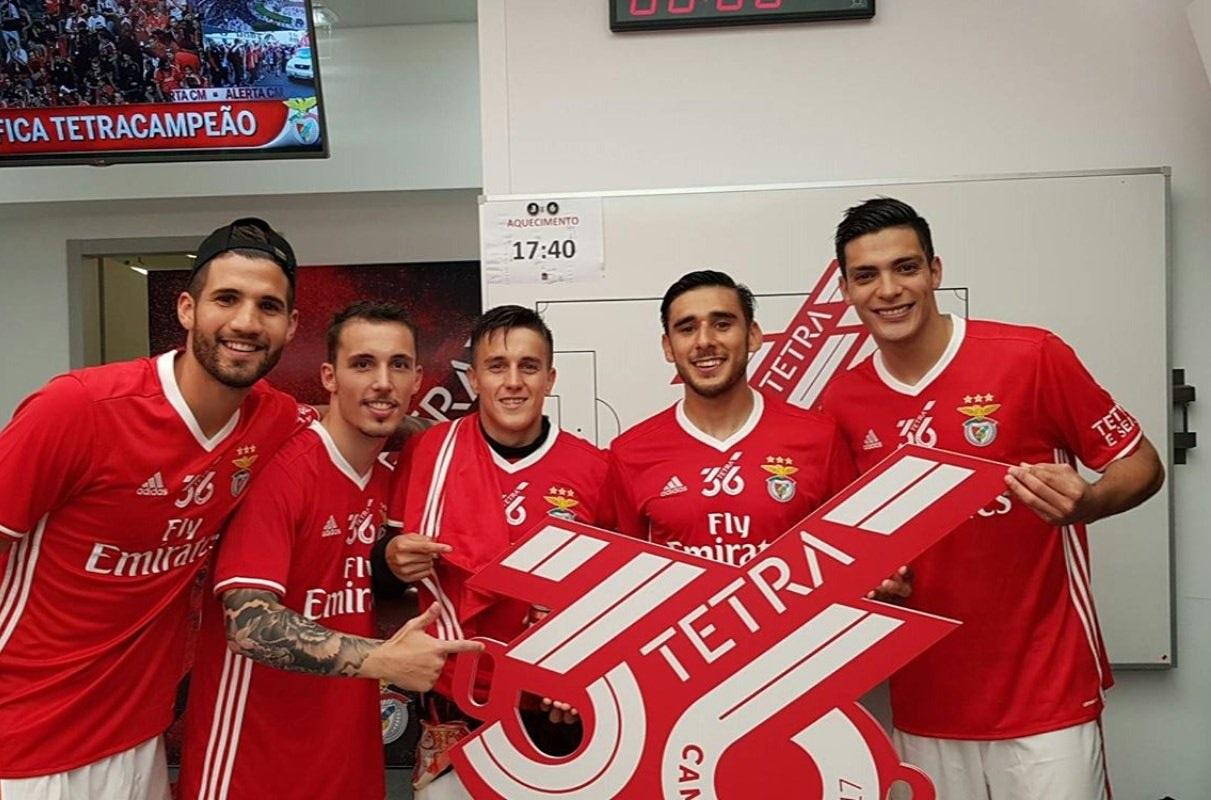 Lisandro Lopez, Franco Cervi, Eduardo Salvio Benfica Portuguese League champions