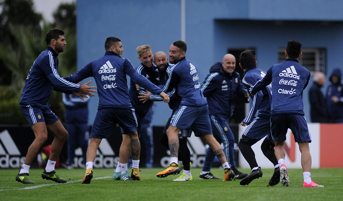 Argentina players training