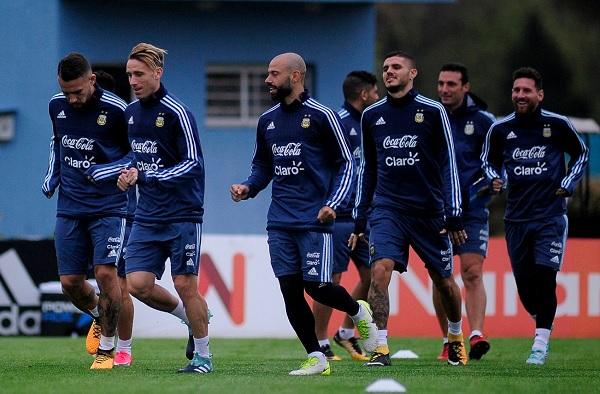 Javier Mascherano Argentina training