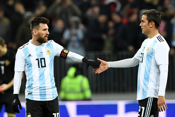The Argentina team - Forwards Lionel Messi Paulo Dybala